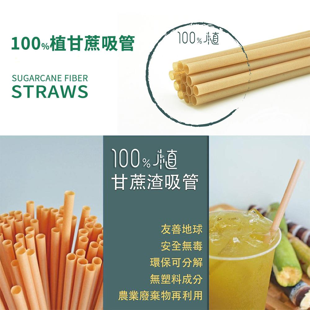【嚐鮮體驗包】100%植甘蔗吸管斜口 6mm (細吸管x30支) & 12mm (可吸珍珠粗吸管x15支)