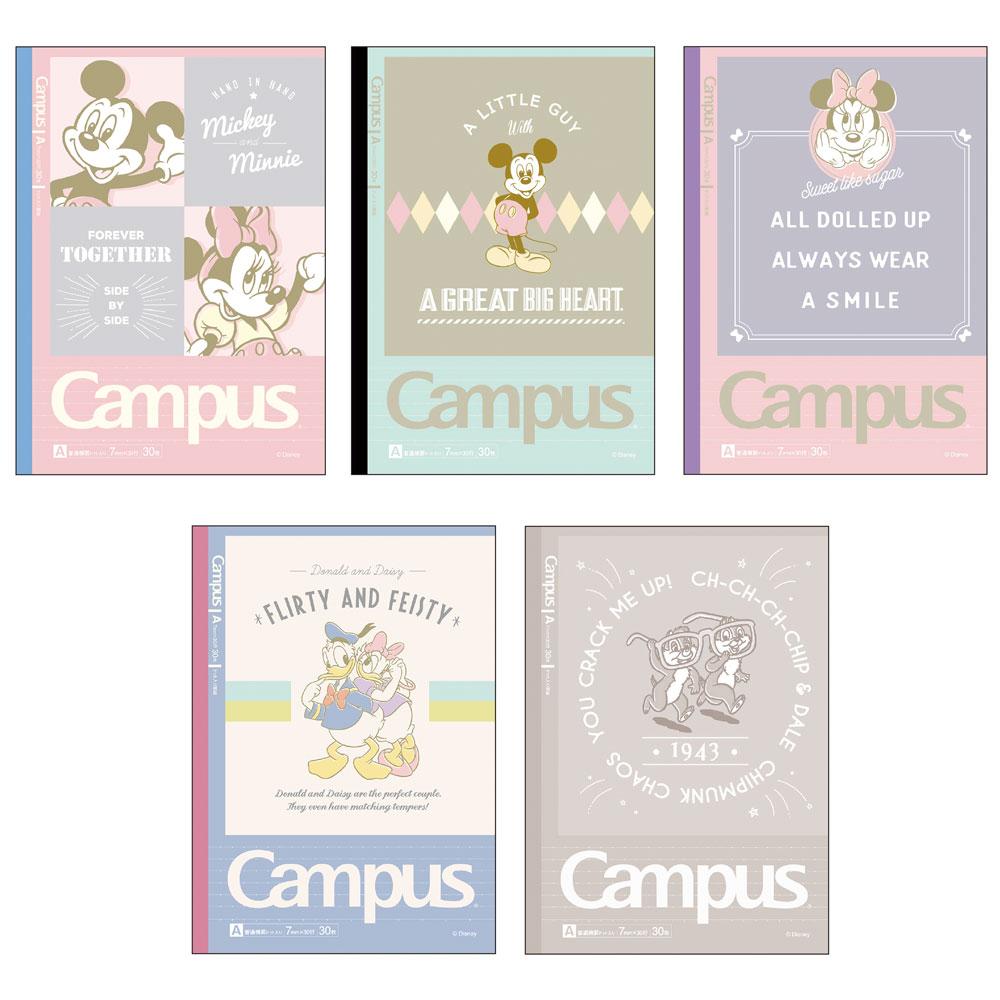 【KOKUYO】Campus 2019限定點線筆記本(5冊裝)-迪士尼明星