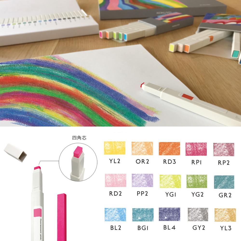 【博客來獨家預購】KOKUYO Drawing+方形馬克蠟筆(新色)-精選15色