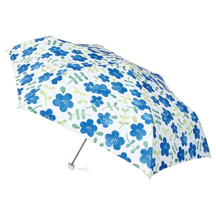 【estaa】日本抗UV輕量耐風晴雨折傘(拉鍊傘套) ‧碧藍花園