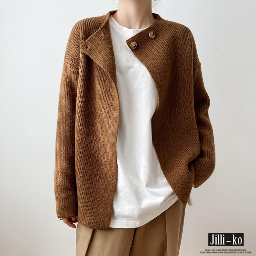 【Jilli~ko】交叉單扣造型針織外套