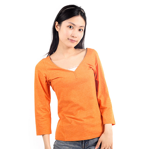 美國Royal Robbin COOLMAX V領七分袖衫 (女/橘)_L