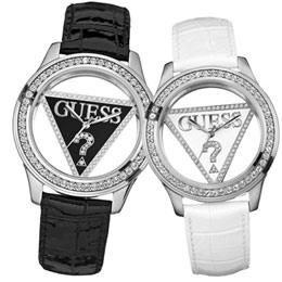 GUESS 魅力時區25週年鏤空限定對錶(黑白)