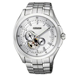 CITIZEN NP系列品位時尚機械錶(鋼帶-銀白)