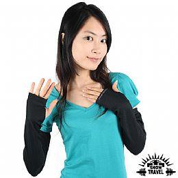 SNOWTRAVEL 平口抗UV遮陽冰涼袖套(黑色)_XL