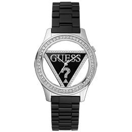 GUESS 魅力鏤空鑽圈玻麗腕錶(黑)