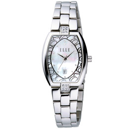 ELLE 夢幻花園時尚腕錶(白)