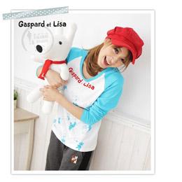 Gaspard et Lisa卡斯柏與麗莎_可愛休閒 ~ 圓領印花 T恤(藍色) _L