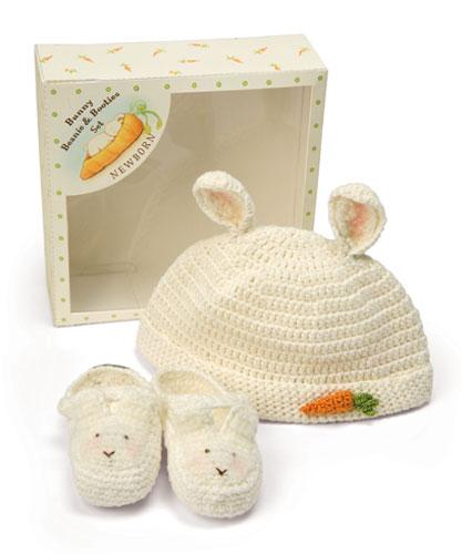 美國Bunnies By The Bay海灣兔,白小兔針織棉帽鞋禮盒,Bunny Beanie & Bootie Set!