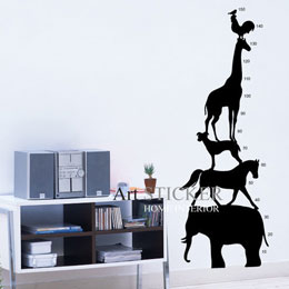 Art STICKER璧貼 ~ Animal tower  A043~黑色