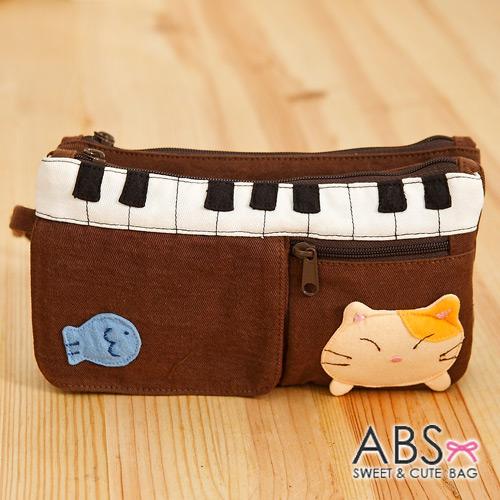 ABS貝斯貓 鋼琴貓咪拼布雙層拉鍊錢包 長夾 (咖啡) 88-176