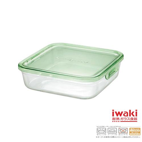 【iwaki】玻璃微波盒 1.2L(綠)