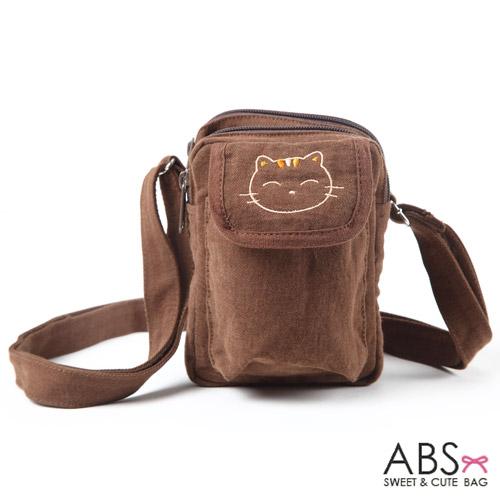 ABS貝斯貓 微笑貓咪可愛拼布 魔鬼氈翻蓋小側背包 (咖啡) 88-177