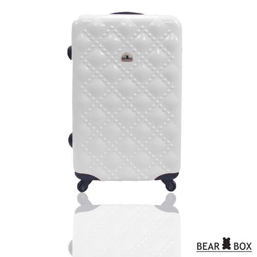 BEAR BOX 時尚香奈兒系列PC亮面輕硬殼24吋旅行箱/行李箱白