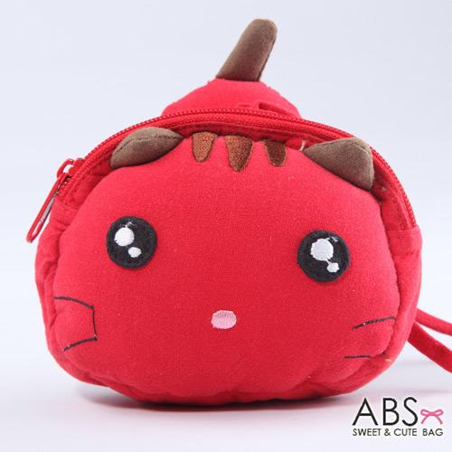 ABS貝斯貓 饅頭貓 可愛拼布拉鏈零錢包  活力紅  88-124