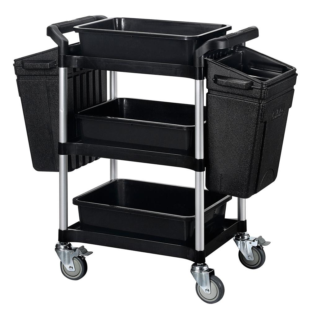 【nicegoods 好東西】小型三層餐廚整備工作推車+整理籃+掛桶(全配)黑