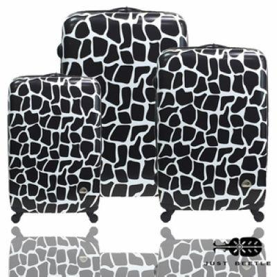 行李箱|28+24+20吋【JUST BEETLE】動物樂園系列*長頸鹿紋ABS輕硬殼旅行箱三件組其他黑白色