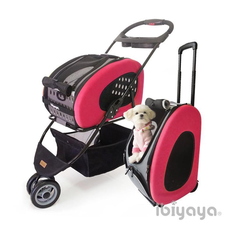 【IBIYAYA依比呀呀】FS1009五彩繽紛寵物推車提包組桃紅
