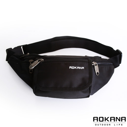 AOKANA奧卡納 台灣製造 YKK拉鍊 率性風尚 輕量防潑水多隔層旅行腰包 (時尚黑) 03-002