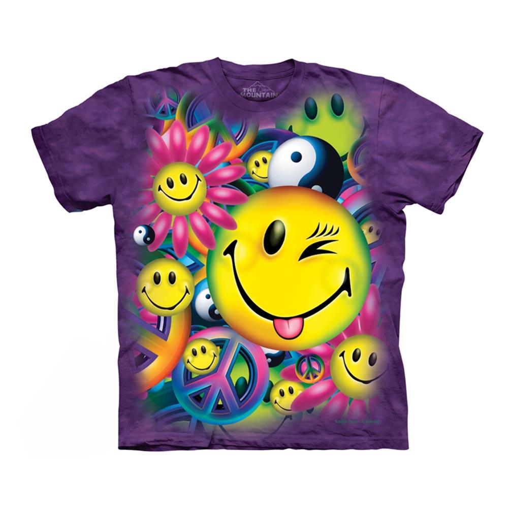 【摩達客】美國進口The Mountain 和平與笑臉 純棉環保短袖T恤[現貨+預購]XL青少年版