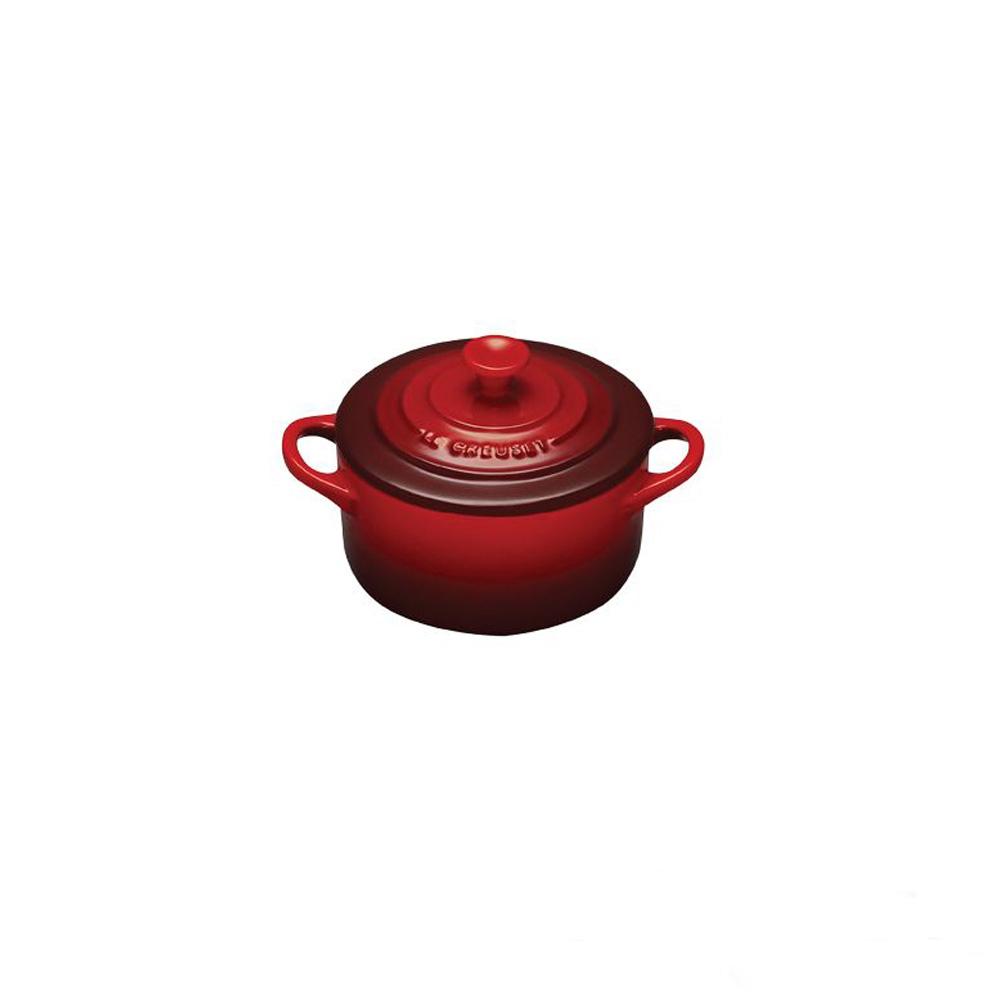 LE CREUSET-迷你圓形瓷器鍋(櫻桃紅.直徑13.5cm)