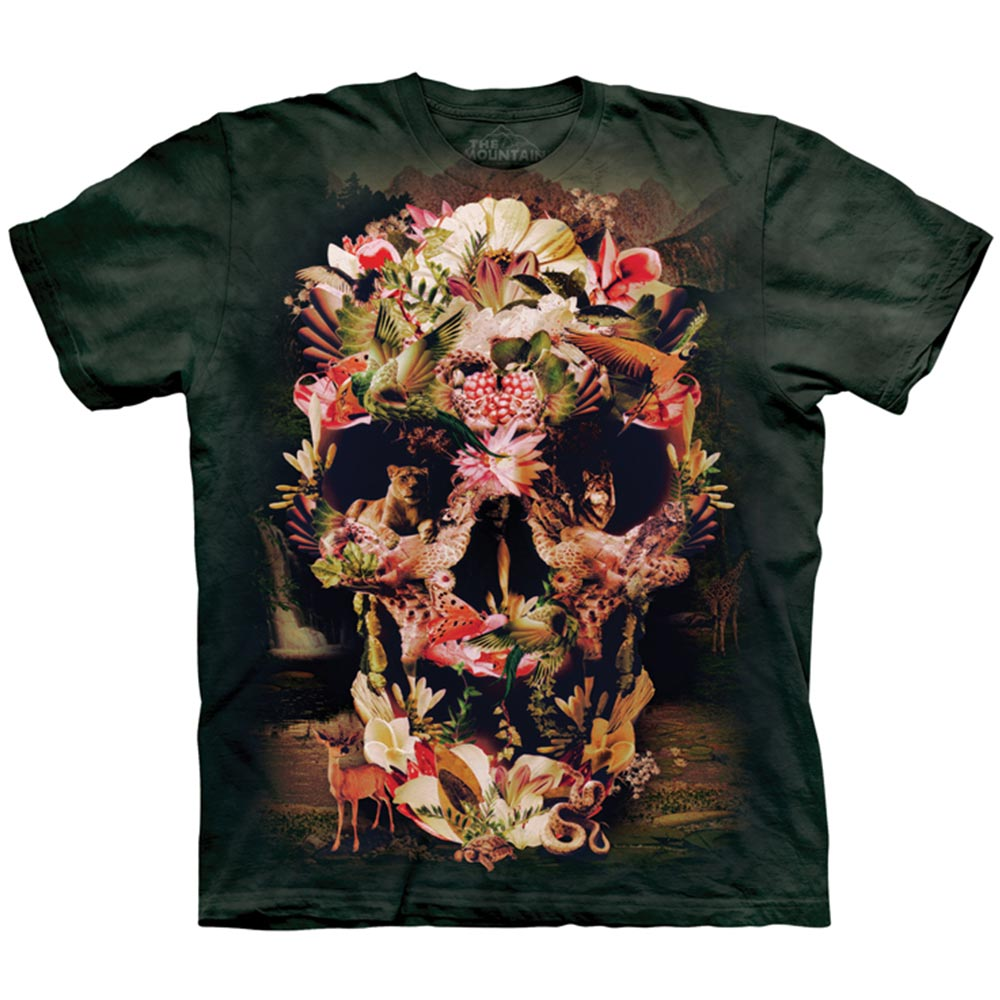【摩達客】美國進口The Mountain 叢林花骷髏 純棉環保短袖T恤[現貨+預購]S青少年版