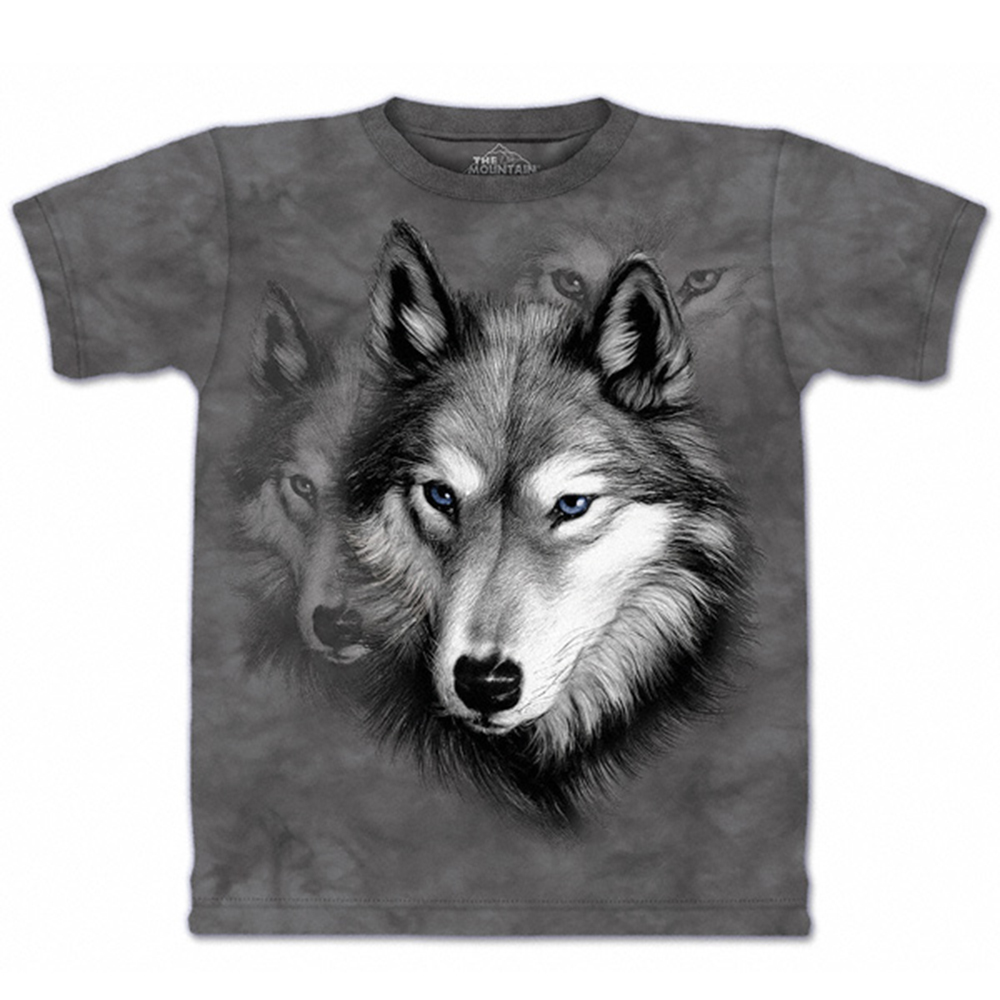 【摩達客】美國進口The Mountain 野狼像 純棉環保短袖T恤[現貨+預購]S青少年版