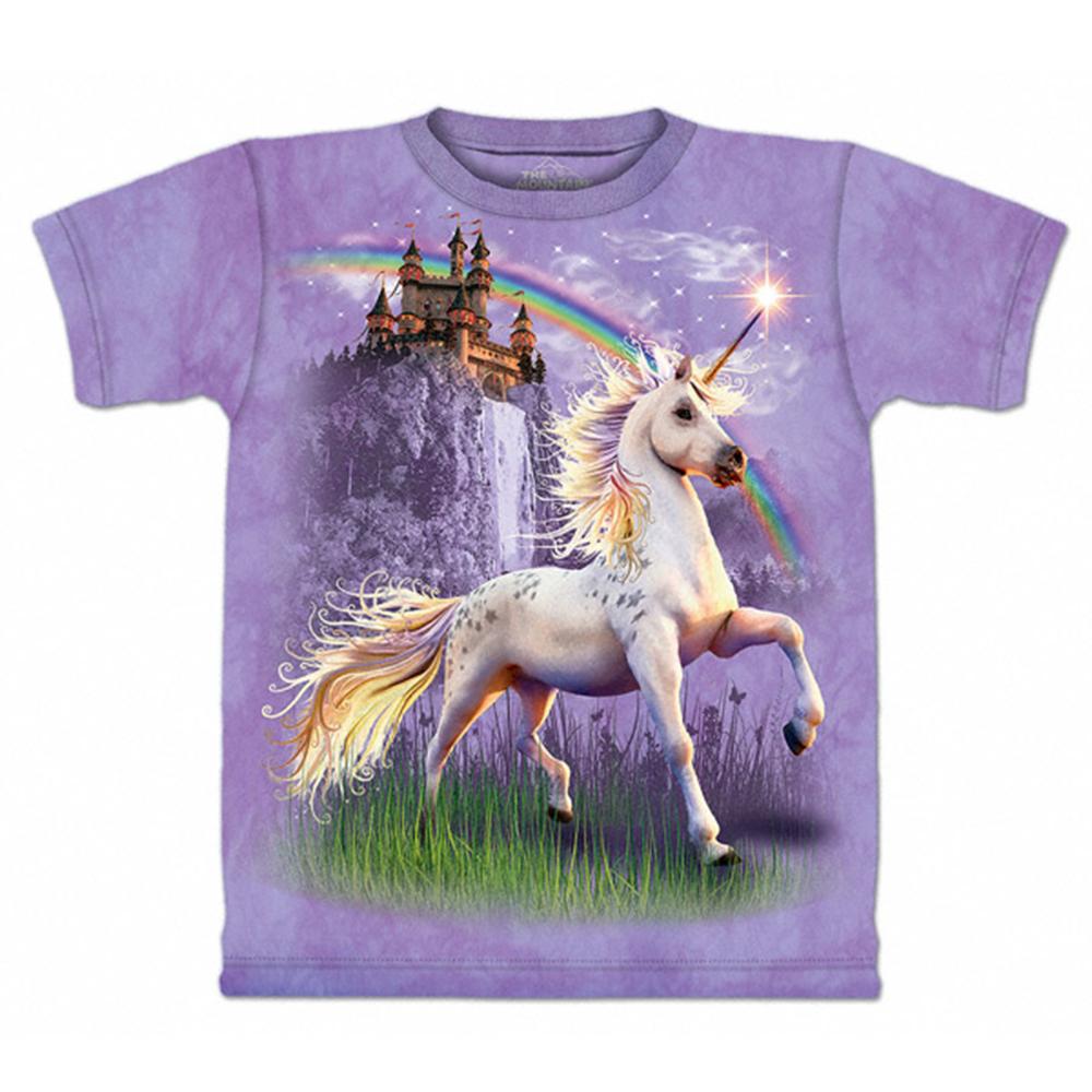 【摩達客】美國進口The Mountain 獨角獸城堡 純棉環保短袖T恤[現貨+預購]S青少年版