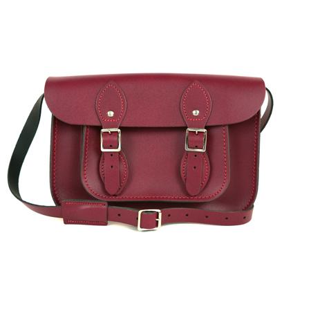 【The Leather Satchel Co.】11吋 英國手工牛皮劍橋包 肩背 側背手拿包 精湛工藝 新款磁釦設計方便開啟(葡萄紅)