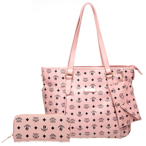 【XINWEI POLO】奢華LOGO風雙側口袋包款附零錢包+皮夾(6318)-粉色