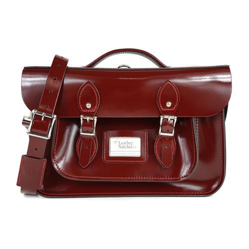 【The Leather Satchel Co.】14吋 英國手工牛皮劍橋包 手提包 肩背包 後背包多功能三用包 精湛工藝 新款磁釦設計方便開啟(誘惑紅-漆皮)