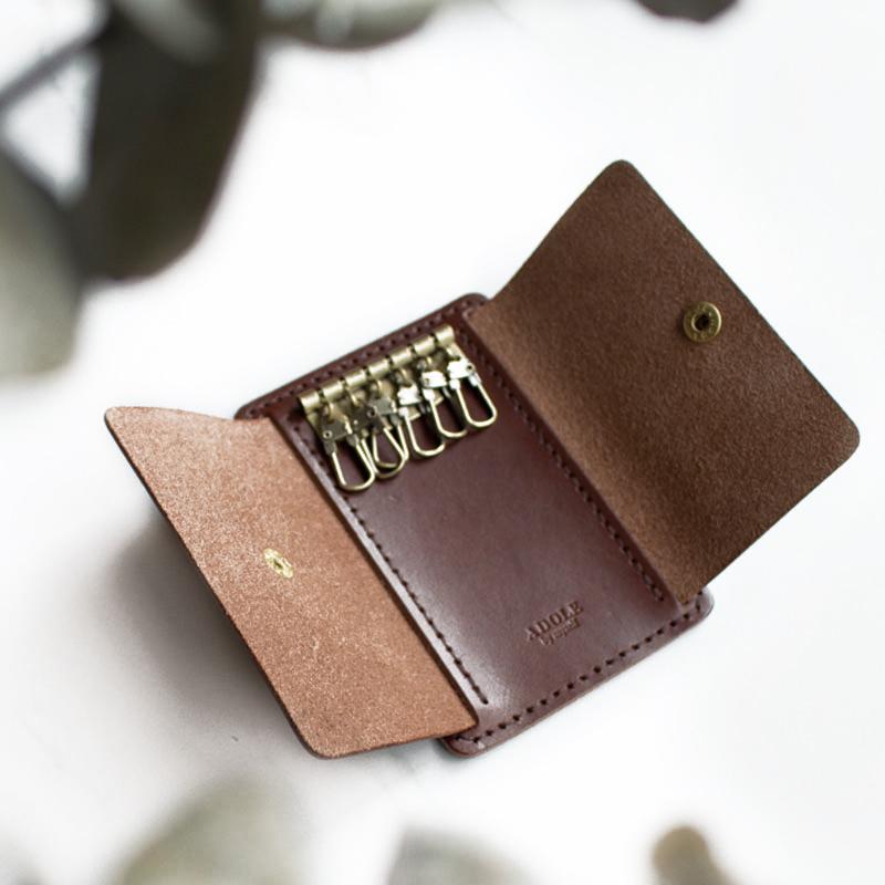【ADOLE】DIY 鑰匙包焦茶色