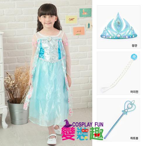 【變裝趣】韓國正版冰雪奇緣Elsa艾爾莎1501花瓣造型服S100-110cm