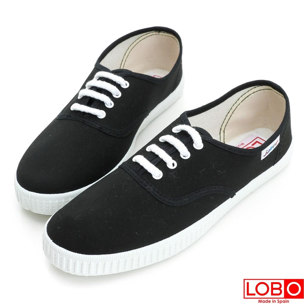 ~LOBO~西班牙百年品牌Bambas環保膠底休閒鞋~黑色 情侶親子款34黑色