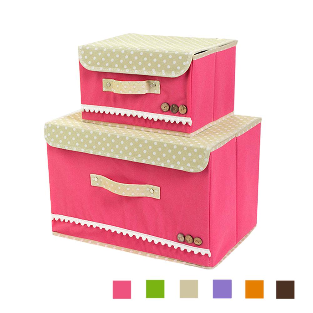 點點鈕扣紡布連蓋收納盒/收納箱玫紅