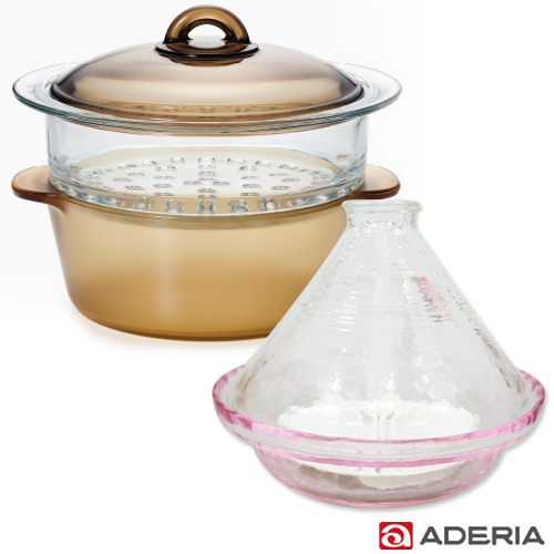 【ADERIA】日本進口雙層陶瓷塗層耐熱玻璃調理鍋2L送塔吉鍋棕色調理鍋