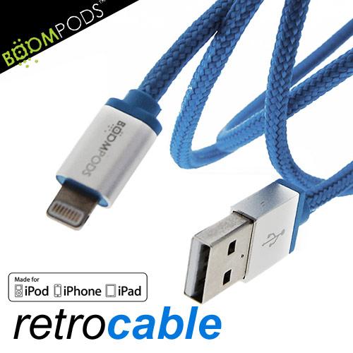 BOOMPODS retrocable MFI Lightning USB Apple認證 iPhone5/6充電傳輸線天藍