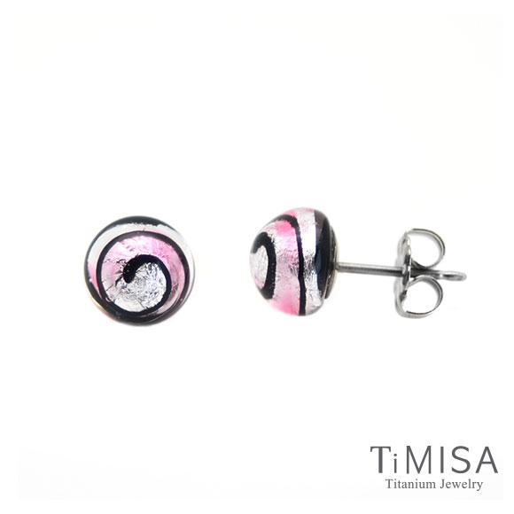 【TiMISA】轉轉繽紛 (五色) 琉璃純鈦耳環一對粉紅