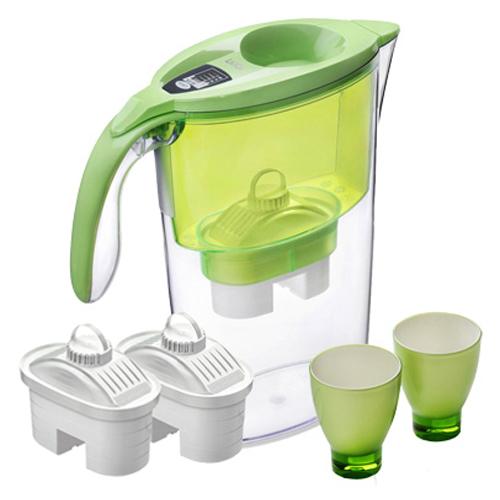 義大利LAICA-彩色免掀蓋濾水壺-禮盒組(1壺+3芯+2杯)-晶漾綠