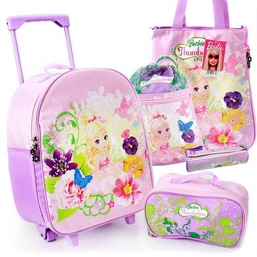 芭比Barbie 拇指公主行李拉桿箱提袋組