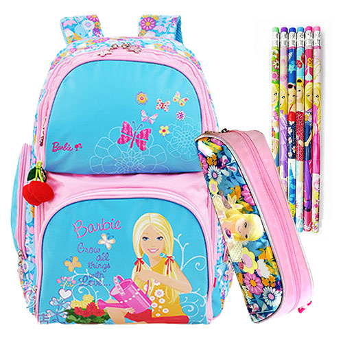 芭比Barbie 雙肩公主書包文具組(藍色)