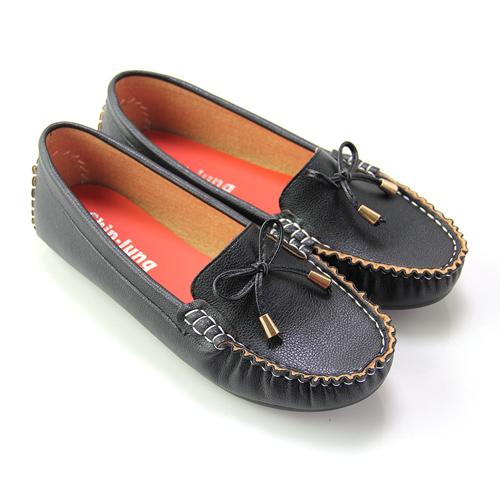【Pretty】百搭基本款蝴蝶結莫卡辛休閒鞋36黑色