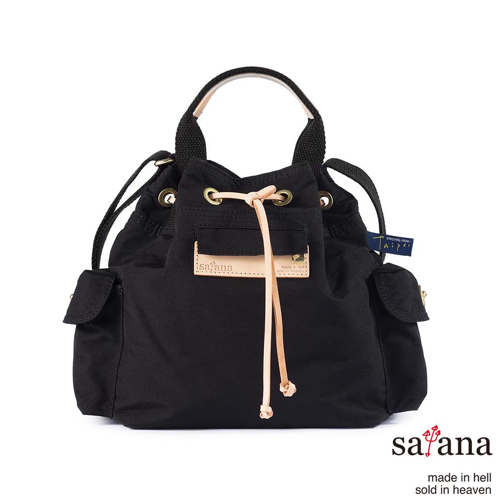 satana - Mini抽繩水桶包 - 黑色