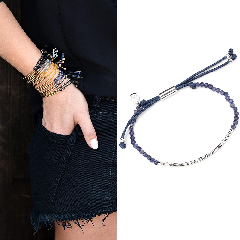 Gorjana POWER GEM 平衡骨 銀墜 紫羅蘭手鍊 可調式手圍 專注力療癒啟發