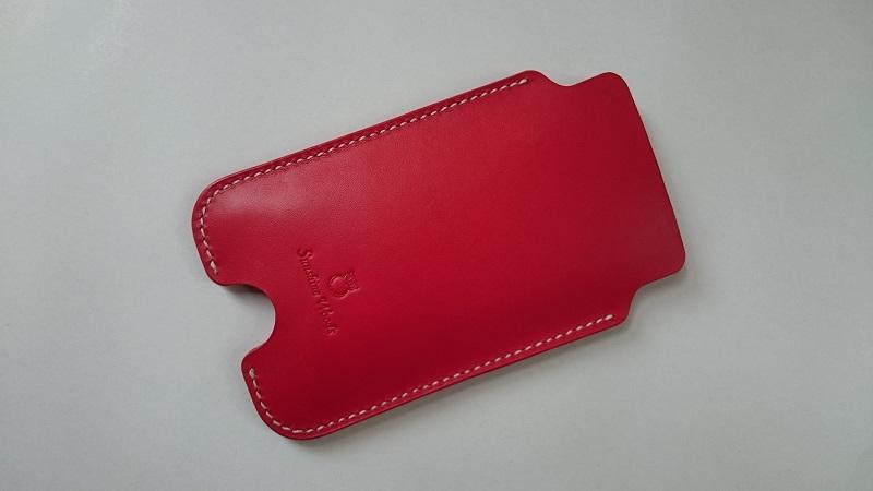 Sunshine Woods義大利植鞣革手機保護套紅色