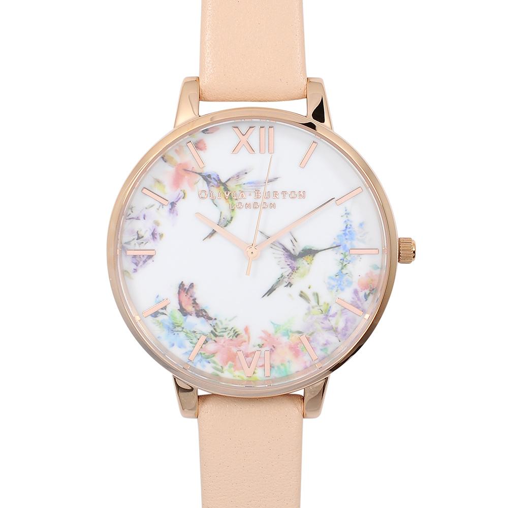 Olivia Burton 英倫復古精品手錶 浮世繪花鳥 粉色真皮錶帶 玫瑰金錶框 38mm