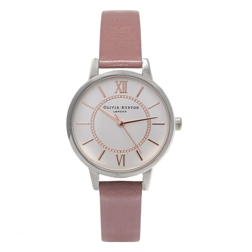 Olivia Burton 英倫復古精品手錶 夢幻樂園 暗膚色真皮錶帶 銀色錶框 30mm