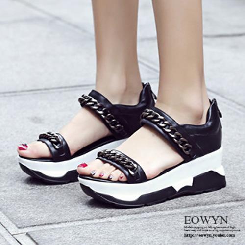 EOWYN.學院風時尚金屬鏈裝飾拉鏈平底厚底涼鞋EMD05083-89/2色/34-39碼現貨+預購39黑色