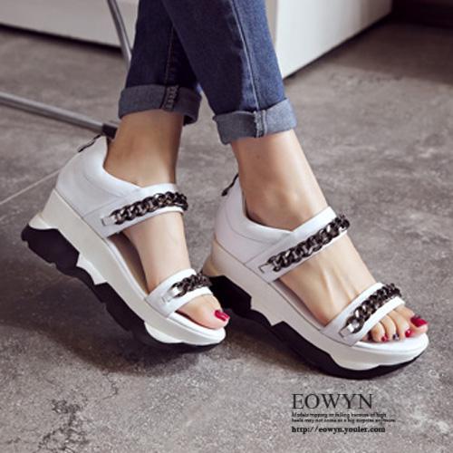 EOWYN.學院風時尚金屬鏈裝飾拉鏈平底厚底涼鞋EMD05083-89/2色/34-39碼現貨+預購34白色