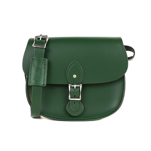 【The Leather Satchel Co.】英國原裝手工牛皮馬鞍包 肩背 側背手拿包 精湛工藝 新款磁釦設計方便開啟(郵差綠)